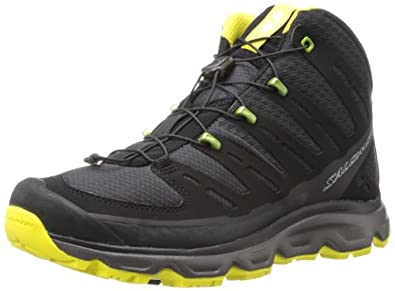 SALOMON Synapse Mid Men's Hiking Shoe, Black/Grey/Yellow, UK6.5