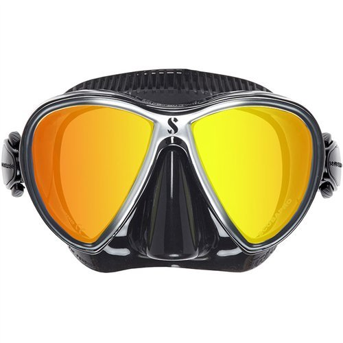 ScubaPro Synergy Trufit Twin Mirrored Mask, Black/Silver w/ Mask Defog Spray
