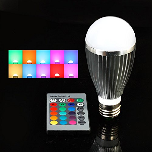 Lvjing® Energy Saving E27 Base 10W Rgb Led Lighting Globe Bulb Lamp With Remote Control 24-Color Led Lighting Ac85-265V