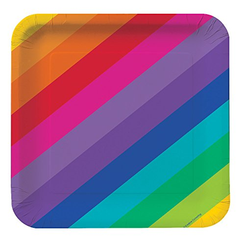 "Rainbow Plates, 9"" Square Deep Dish (Qty 8)"