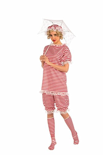 Beachside Bettie Adult Lady Costume Bathing Beauty Pageants Striped Roaring 20s