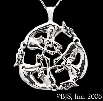 Interleaving Wolf Sterling Silver Pendant Necklace Includes 24