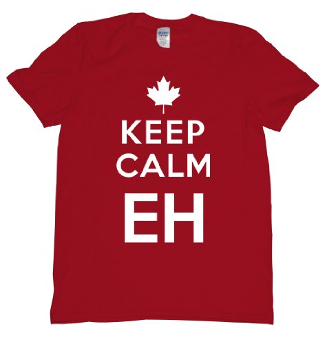 [Keep Calm Eh Canada Maple Leaf Mounties Uniform Tee Shirt For Our Neighbors Up North, Carry on Mens XL red] (Mountie Uniform)