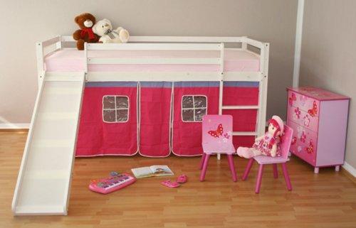 Lit enfant superposé en pin massif avec toboggan blanc et rideau pink -PEGANE-