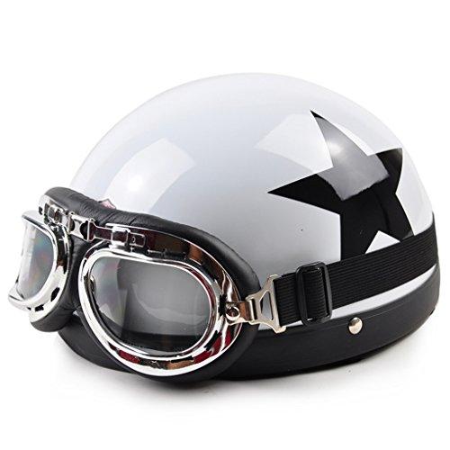 バイクヘルメット 半キャップ ヘルメット 半帽 ハーレー[星・ホワイト]