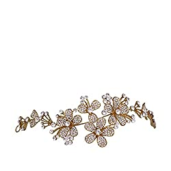 Mansiyaorange Foldable Floral Funky Fashionable Indo western Designer Fancy Wedding party wear Golden Hair Accessories Hair Clip Hairband Side pin for Girls And Women