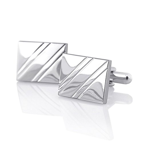 Insten Silver Cufflinks with Diagonal Stripes (Penguin Man From Batman)