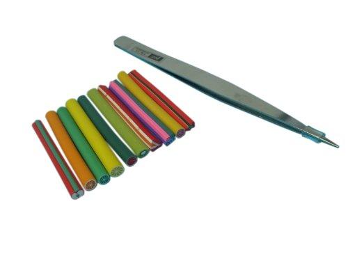 ステンレス製ピンセット + フルーツ棒10本セット 2点セット ネイル用品 ネイルアートキット ネイル