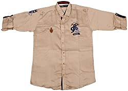 Accurate Boys' Cotton Shirt (SH 132, Beige, 12)