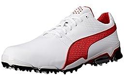 PUMA Men\'s Titantour Ignite Golf Shoe, White/High Risk Red, 8.5 M US