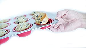 Silicone Muffin Pan. 12 cup, Flexibility and Stability, with Hybrid Nonstick Silicone and Carbon Steel Frame