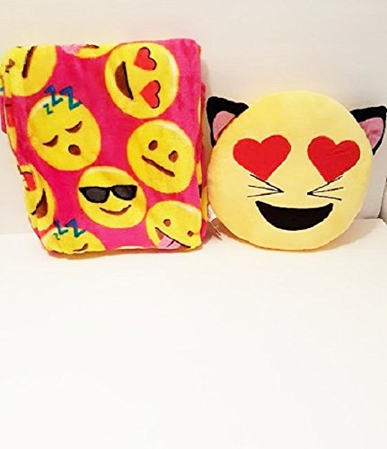[Emoji Pillow 2 Piece Set Stuffed Pillows Faces Round Velvet Throw Blanket Kids Plush Soft Toy Toddlers Teens Emojies Expressions WILL Vary 50