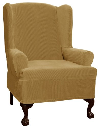 Maytex Collin Stretch 1-Piece Slipcover Wing Chair, Gold front-533900