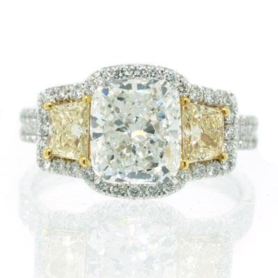 3.07ct Fancy Yellow Cushion Cut Diamond Engagement Anniversary Ring