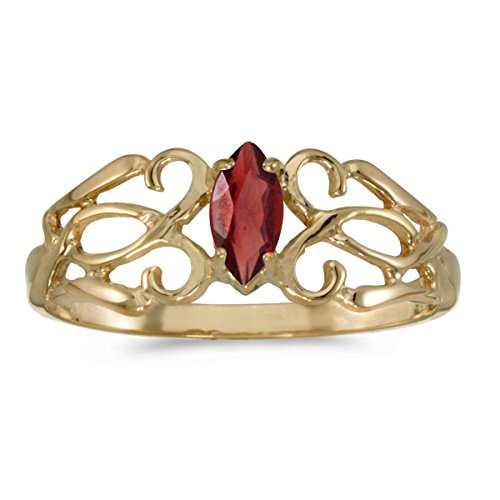 0.25 Carat Ctw 14K Gold Marquise Red Garnet Solitaire Filigree Design Antique Engagement Fashion Ring - Yellow-Gold, Size 5.5