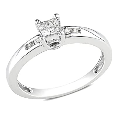Sterling Silver Diamond Engagment Ring (0.12 Cttw, G-H Color, I2-I3 Clarity)