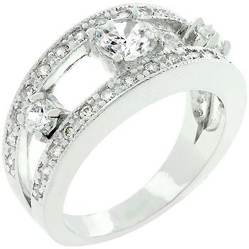 White Gold Bonded Three Stone CZ Anniversary Ring