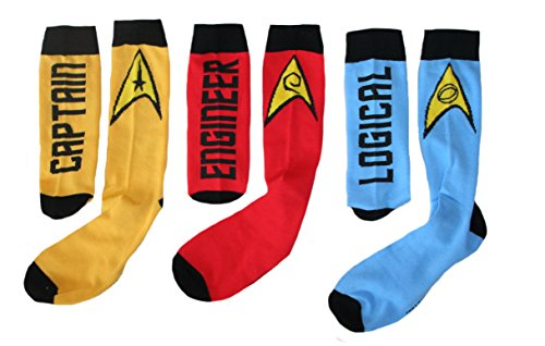 Star Trek Mens' Crew Socks 3 Pack (Sock Size:10-13)