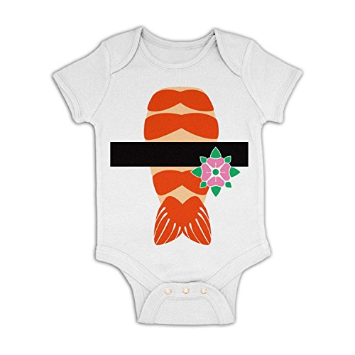 [Prawn Sushi Costume Baby Grow - White 6-12 Months] (Baby Sushi Costumes)
