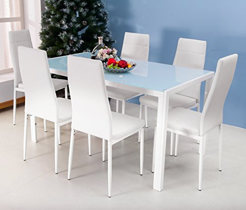White Kitchen Dining Sets: 7 Piece Glass Dining Room Set
