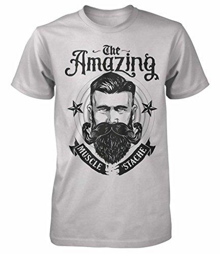 Nuovo The Amazing muscolare Barba Hipster Retro T Shirt Divertente parodia tutte le misure Medium,Grey Medium