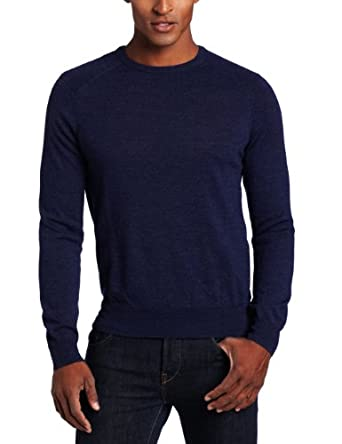 Calvin Klein Sportswear Men's Tipped Merino Crew Neck Sweater, Blue Ink Heather, Small