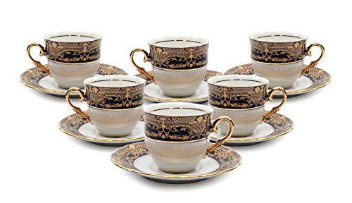 Royal Porcelain 12-pc Miniature Espresso Coffee Set, Six 24K Gold Cups and Saucers, Vintage Cobalt Blue Pattern, Bone China Tableware (Espresso Cups Vintage compare prices)
