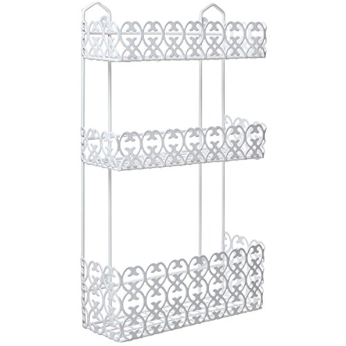 MyGift Decorative White Wall Mounted 3 Tier Shelf Baskets / Kitchen Spice Rack / Bathroom Product Holder