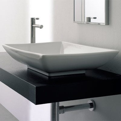 Scarabeo Scarabeo 8046-No Hole-637509857943 High-End Vessel Ceramic Bathroom Sink, White