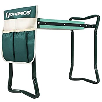 SONGMICS Garden Kneeler Seat with Bonus Upgraded Tool Pouch and EVA Kneeling Pad Foldable Stool UGGK49L