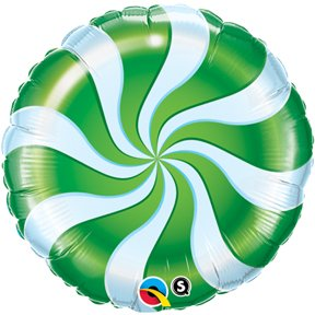 "Candy Swirl Green 18"" Round Balloon Pack of 5 - 1"