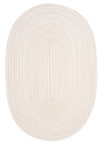 Ticking Stripe Oval Area Rug, 2' x 4', Canvas