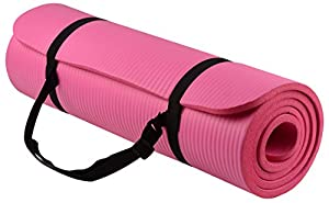 BalanceFrom GoYoga All-Purpose 1/2-Inch Extra Thick High Density Anti-Tear Exercise Yoga Mat with Carrying Strap (Pink)