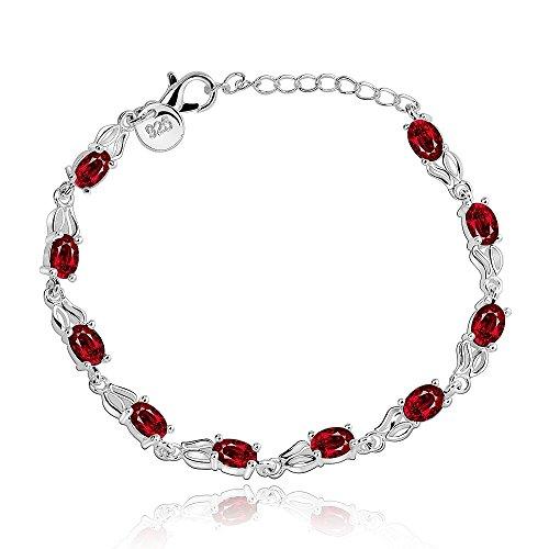 Shopping mit artikelunion.de - Armkette, 925 Silber massiv, rote Diaman
