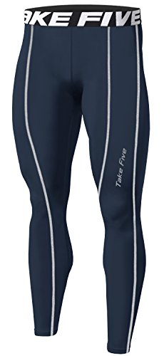New Men Sports Winter Warm Thermal Skin Tights Compression Base Under Layer Long Pants (L, TK225 NAVY)