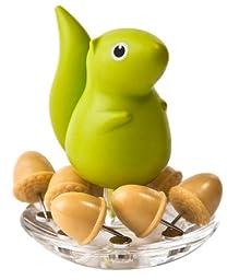Qualy Squirrel & Acorn Push Pins - Green