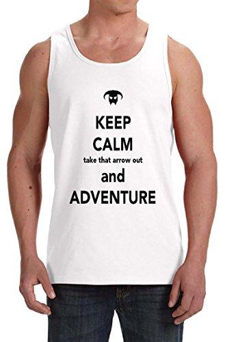 Keep-Calm-Take-That-Arrow-Out-And-Adventure-Camiseta-De-Tirantes-Para-Hombre-Blanco-Todos-Los-Tamaos-Mens-Tank-T-Shirt-Top-White