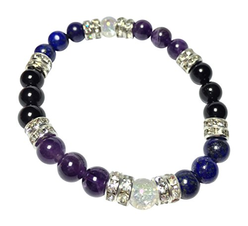 Guardian Lapis Lazuli, Amethyst, Obsidian, & Crystal Quartz Beaded Stretch Bracelet