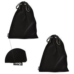 Cosmos ® Set of 2 Premium Black Travel Carry Drawstring Headphones Pouch Bag