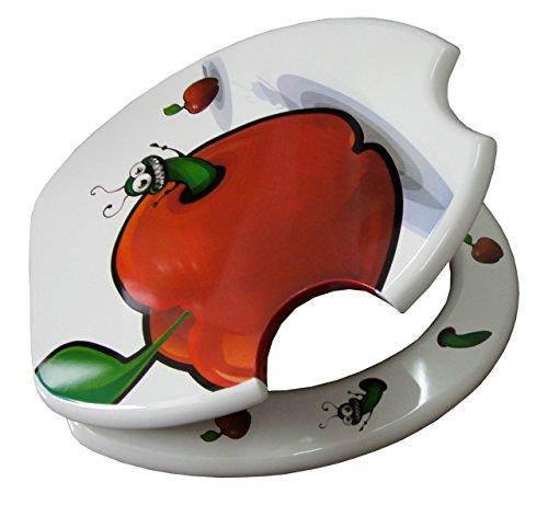 """Carpemodo WC Sitz WC Deckel Klodeckel MDF robustem Holzkern Antibakteriell Scharniere verchromt Größe 43x36 cm witziges Design """"Raupe"""""""