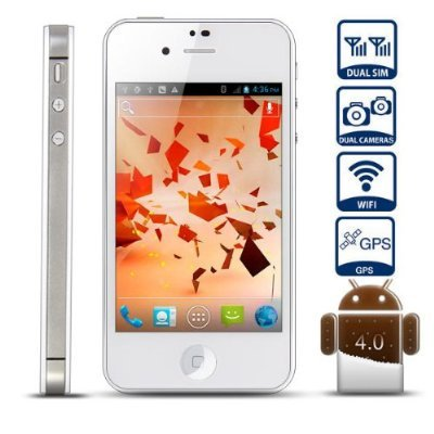 Unlocked Quadband Dual Sim with Android 4.0 3g Smart Phone 3.5 Inch Capacitive Touch Screen – At&t, T-mobile, H20, Simple Mobile and Other GSM Networks (White)