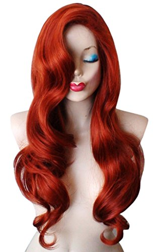 [Roundshop Copper Red Hair Halloween Costume Masquerade Cosplay Big Wavy Wig] (Jessica Rabbit Wig)