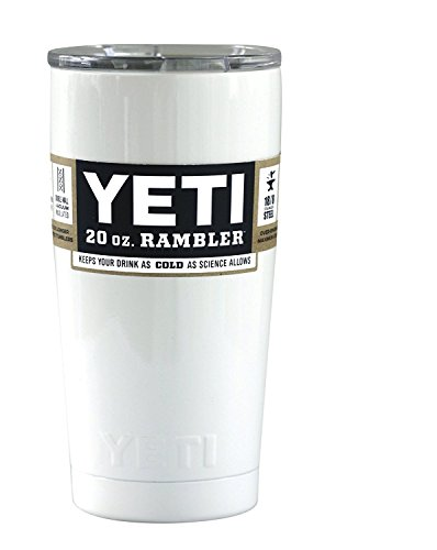 YETI Coolers Custom Powder Coated Stainless Steel 20 oz (20oz) Rambler Tumbler with Lid (White Gloss)