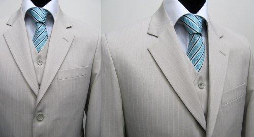 MUGA Pinstripe mens Suit + Waistcoat, light Beige, size 56R (EU 66)