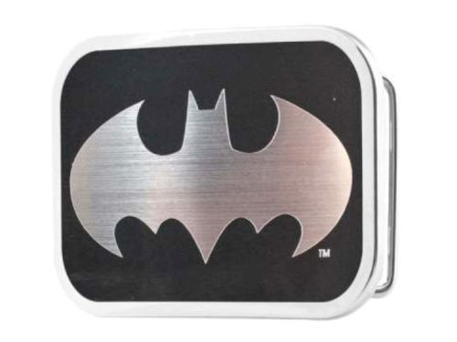 Classsic Batman Brushed Silver and Black Belt Buckle