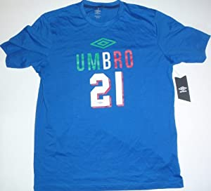 Team Italy Soccer World Cup #21 Royal Blue Umbro Jersey T-Shirt Large