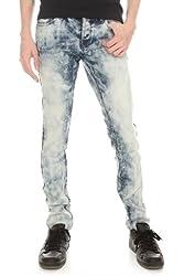 RUDE Light Indigo Bleach Wash Skinny Fit Denim Jeans
