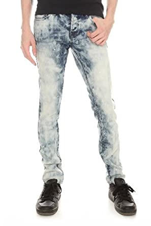 RUDE Light Indigo Bleach Wash Skinny Fit Denim Jeans Size : 26