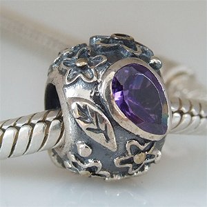 Everbling Dew Drops On Flowers With Purple Cz Authentic 925 Sterling Silver Charm Fits Pandora Chamilia Biagi Troll Beads Europen Style Bracelets