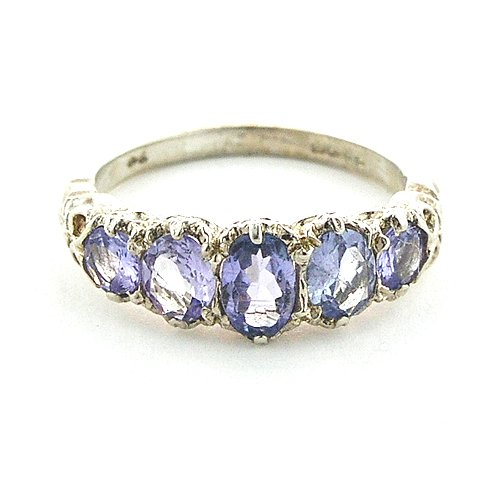 Sterling Silver Ladies Tanzanite 5 Stone Ring - Size L - Finger Sizes L to Z Available